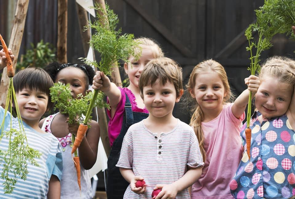 Kinder halten Gemüse hoch