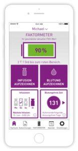 Abbildung von Smartphone mit MyPKFiT App. Faktometer mit Anzeige FVIII-Wert bei 90%.