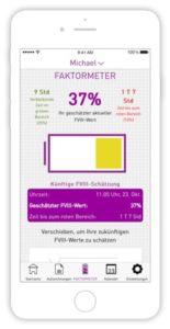 Abbildung von Smartphone mit MyPKFiT App. Faktometer mit Anzeige FVIII-Wert bei 37%.