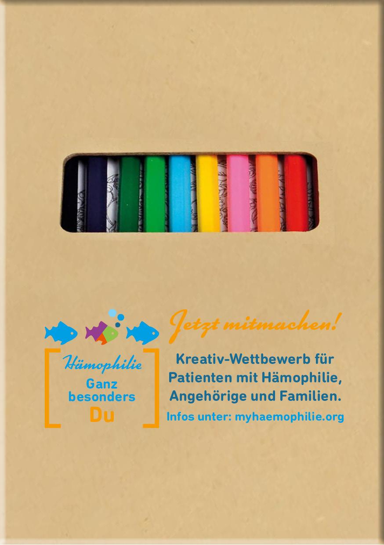 Box mit Buntstiften und Welthämophilietag-Logo