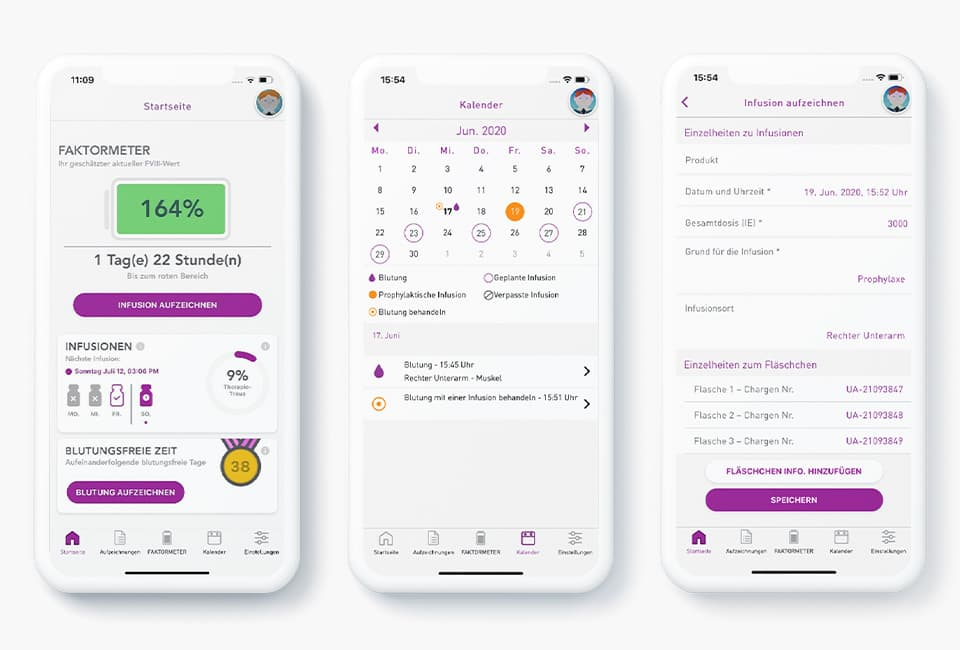 Smartphones mit myPKFit-App