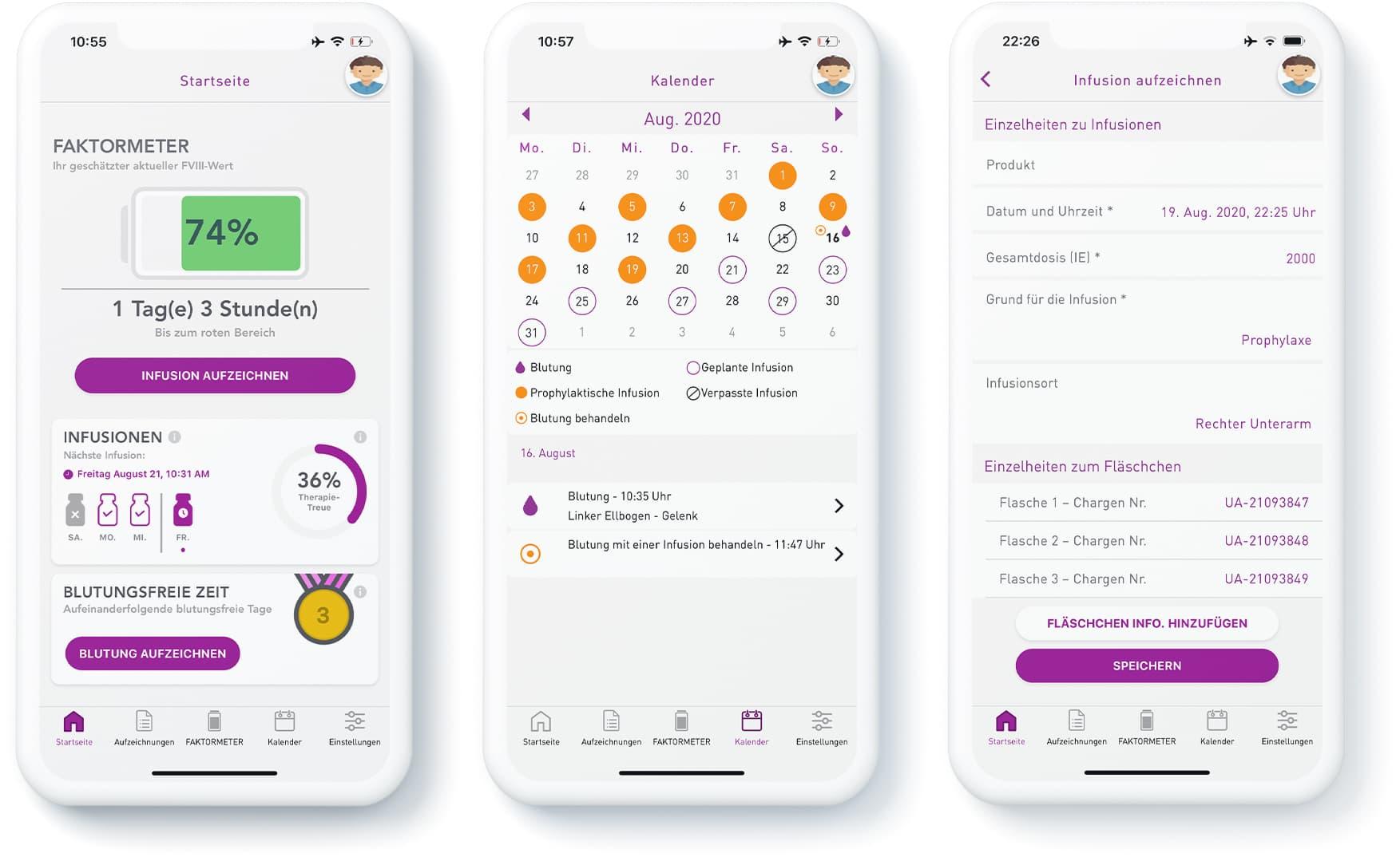 Smartphone mit myPKFit-App