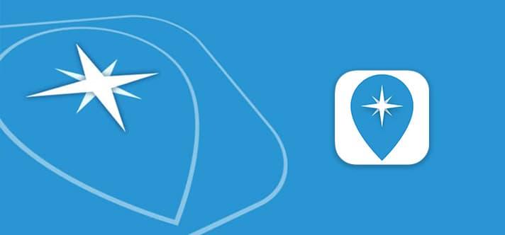 Travelguide App Symbol auf blauem Hintergrund