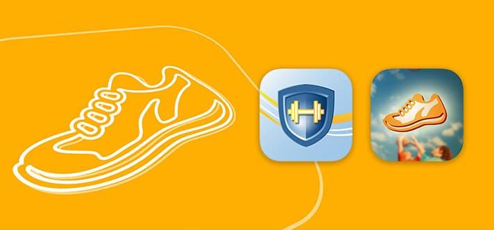 Fit for Life App Symbole auf orangenem Hintergrund